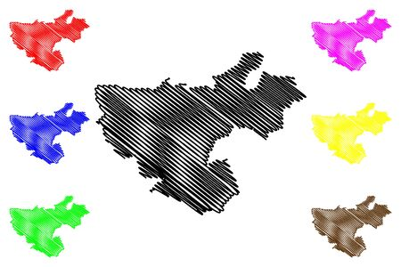 Floresti District (Republic of Moldova, Administrative divisions of Moldova) map vector illustration, scribble sketch Floresti map