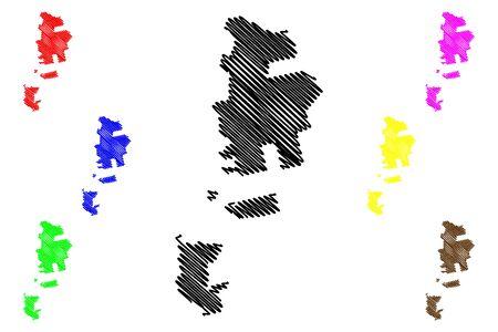 Autonomous Territorial Unit of Gagauzia (Republic of Moldova, Administrative divisions of Moldova) map vector illustration, scribble sketch Gagauzia or Gagauz Yeri map