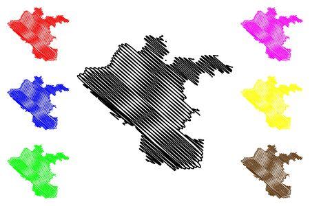 Chisinau Municipality (Republic of Moldova, Administrative divisions of Moldova) map vector illustration, scribble sketch Kishinev map Illusztráció