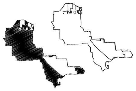 Pasadena City, Texas (United States cities, United States of America, usa city) map vector illustration, scribble sketch City of Pasadena map Ilustração