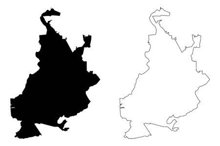 Samara City (Russian Federation, Russia) map vector illustration, scribble sketch City of Kuybyshev map