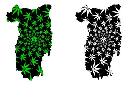 Valcea County (Administrative divisions of Romania, Sud-Vest development region) map is designed cannabis leaf green and black, Valcea map made of marijuana (marihuana,THC) foliage