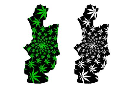 Central Province (Democratic Socialist Republic of Sri Lanka, Ceylon) map is designed cannabis leaf green and black, Central map made of marijuana (marihuana,THC) foliage Ilustração