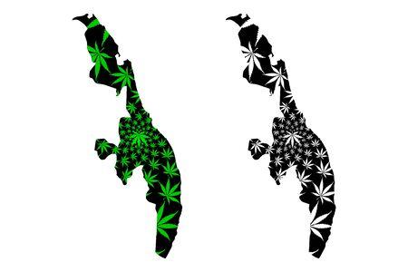 Eastern Province (Democratic Socialist Republic of Sri Lanka, Ceylon) map is designed cannabis leaf green and black, Eastern map made of marijuana (marihuana,THC) foliage
