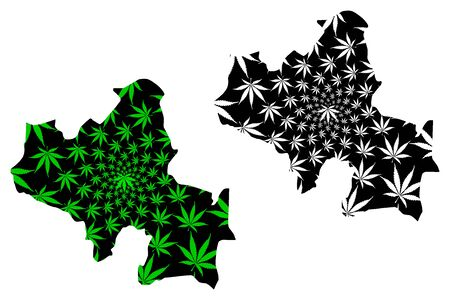 North Central Province (Democratic Socialist Republic of Sri Lanka, Ceylon) map is designed cannabis leaf green and black, North Central map made of marijuana (marihuana,THC) foliage Ilustração