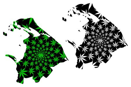 Northern Province (Democratic Socialist Republic of Sri Lanka, Ceylon) map is designed cannabis leaf green and black, Northern map made of marijuana (marihuana,THC) foliage