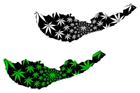 Southern Province (Democratic Socialist Republic of Sri Lanka, Ceylon) map is designed cannabis leaf green and black, Southern map made of marijuana (marihuana,THC) foliage Ilustração