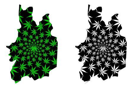 Uva Province (Democratic Socialist Republic of Sri Lanka, Ceylon) map is designed cannabis leaf green and black, Uva map made of marijuana (marihuana,THC) foliage
