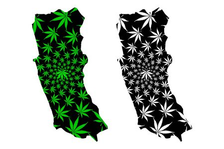 Western Province (Democratic Socialist Republic of Sri Lanka, Ceylon) map is designed cannabis leaf green and black, Western map made of marijuana (marihuana,THC) foliage