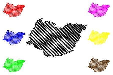Imereti region (Republic of Georgia - country, Administrative divisions of Georgia) map vector illustration, scribble sketch Imereti map Ilustracja