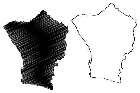 Erongo Region (Regions of Namibia, Republic of Namibia) map vector illustration, scribble sketch Erongo map