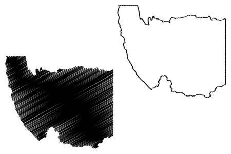 Karas Region (Regions of Namibia, Republic of Namibia) map vector illustration, scribble sketch Karas map