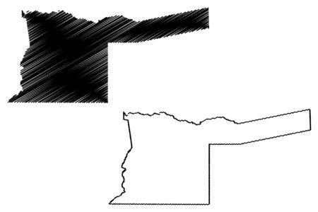 Kavango East Region (Regions of Namibia, Republic of Namibia) map vector illustration, scribble sketch Kavango East map