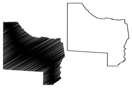 Kavango West Region (Regions of Namibia, Republic of Namibia) map vector illustration, scribble sketch Kavango West map