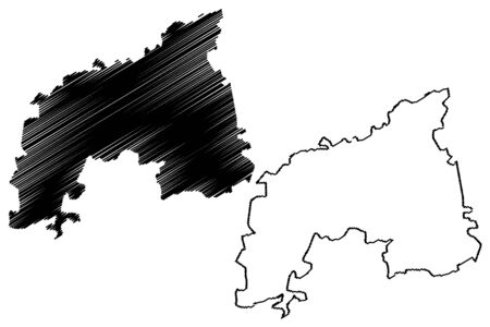 Khomas Region (Regions of Namibia, Republic of Namibia) map vector illustration, scribble sketch Khomas map Ilustracja