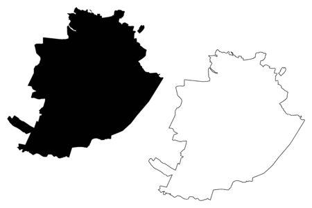 Turin City (Italian Republic, Italy, Piedmont) map vector illustration, scribble sketch City of Turin map