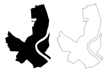 Bordeaux City (French Republic, France, Gironde) map vector illustration, scribble sketch City of Bordeaux map Ilustracja