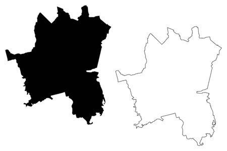 Ilustracja wektorowa mapy miasta Katowice (RP, Śląsk), szkic bazgrołów Mapa miasta Katowice Ilustracje wektorowe