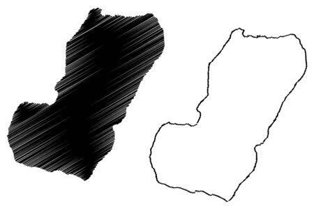 Bioko island (Republic of Equatorial Guinea) map vector illustration, scribble sketch Fernando Po map