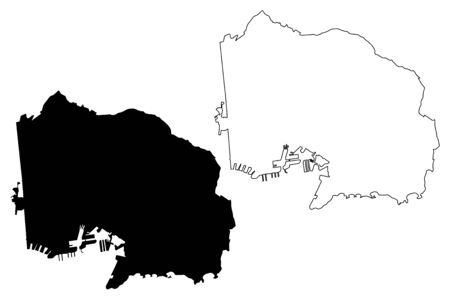 Toulon City (French Republic, France) map vector illustration, scribble sketch City of Toulon map Ilustracja