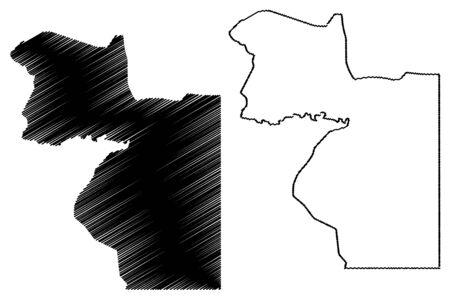 Wele-Nzas (Republic of Equatorial Guinea, Provinces of Equatorial Guinea) map vector illustration, scribble sketch Wele Nzas Province map 向量圖像