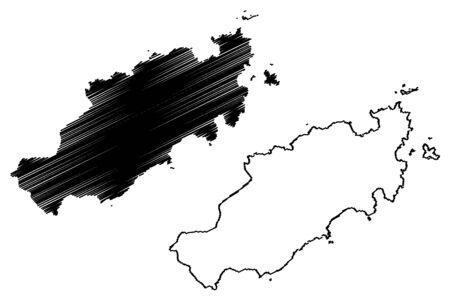 Eastern Tobago region (Regional corporations and municipalities, Republic of Trinidad and Tobago) map vector illustration, scribble sketch Eastern Tobago (Little Tobago, Goat, Giles Island) map
