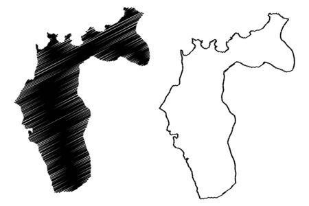 San Juan–Laventille region (Regional corporations and municipalities, Republic of Trinidad and Tobago) map vector illustration, scribble sketch San Juan Laventille map