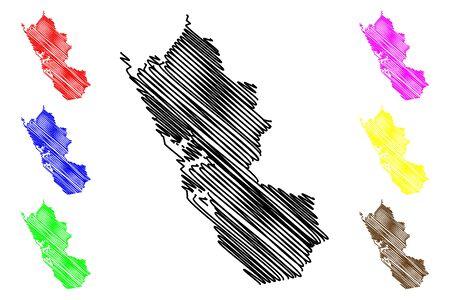 Ogooue-Maritime Province (Subdivisions of Gabon, Gabonese Republic) map vector illustration, scribble sketch Ogooue Maritime map Illustration