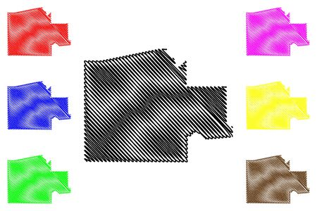 Ngamiland District (Districts of Botswana, Republic of Botswana) map vector illustration, scribble sketch North-West map