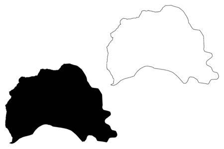 Tetovo Municipality (Republic of North Macedonia, Polog Statistical Region) map vector illustration, scribble sketch Tetovo map