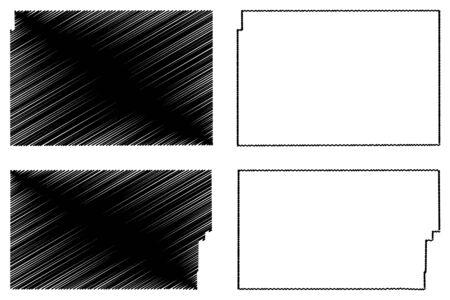 Moffat and Phillips County, Colorado (U.S. county, United States of America,USA, U.S., US) map vector illustration, scribble sketch Moffat and Phillips map Illusztráció