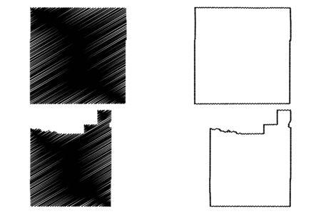 Morgan and Otero County, Colorado (U.S. county, United States of America,USA, U.S., US) map vector illustration, scribble sketch Morgan and Otero map Illusztráció