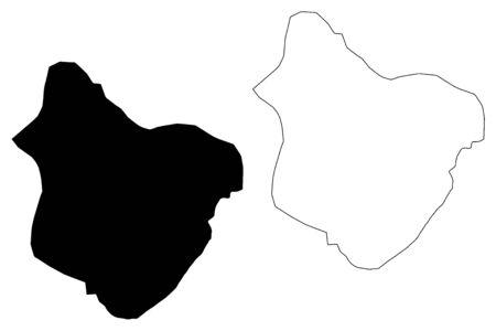 Bogdanci Municipality (Republic of North Macedonia, Southeastern Statistical Region) map vector illustration, scribble sketch Bogdanci map