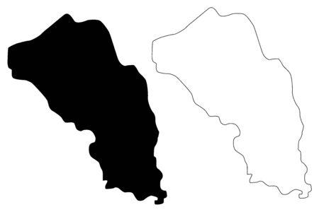 Gjorce Petrov Municipality (Republic of North Macedonia, Skopje Statistical Region, Greater Skopje) map vector illustration, scribble sketch Gjorce Petrov map Ilustracja