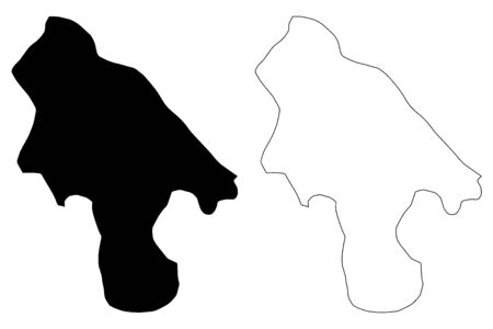 Lozovo Municipality (Republic of North Macedonia, Vardar Statistical Region) map vector illustration, scribble sketch Lozovo map Ilustracja