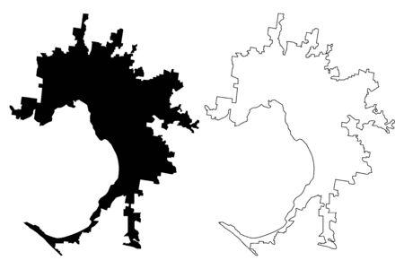 Melbourne City, Victoria (Commonwealth of Australia, Australia city) map vector illustration, scribble sketch City of Melbourne map Illusztráció