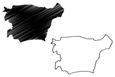 Ida Viru County (Republic of Estonia, Counties of Estonia) map vector illustration, scribble sketch Ida-Virumaa map