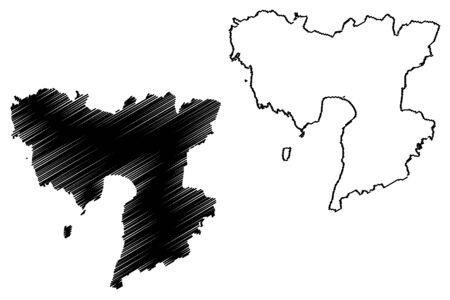 Parnu County (Republic of Estonia, Counties of Estonia) map vector illustration, scribble sketch Parnumaa map