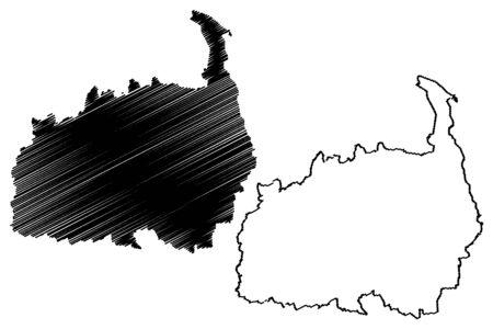 Polva County (Republic of Estonia, Counties of Estonia) map vector illustration, scribble sketch Polvamaa map