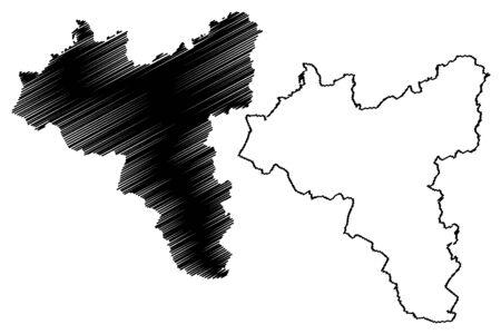 Valga County (Republic of Estonia, Counties of Estonia) map vector illustration, scribble sketch Valgamaa map