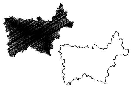 Voru County (Republic of Estonia, Counties of Estonia) map vector illustration, scribble sketch Vorumaa map