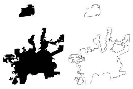 Dayton City, Ohioa (United States cities, United States of America, usa city) map vector illustration, scribble sketch City of Dayton map Illusztráció