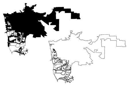 Hayward City, California (United States cities, United States of America, usa city) map vector illustration, scribble sketch City of Hayward map