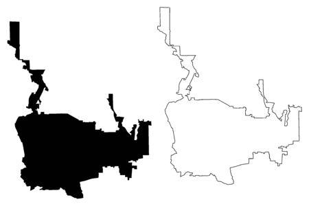 Pasadena City, California (United States cities, United States of America, usa city) map vector illustration, scribble sketch City of Pasadena map Illusztráció