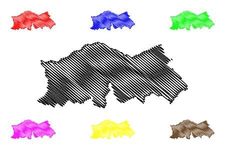 Baucau Municipality (Municipalities of East Timor, Democratic Republic of Timor-Leste, island) map vector illustration, scribble sketch Baucau map