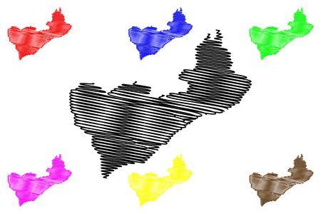 Cova Lima Municipality (Municipalities of East Timor, Democratic Republic of Timor-Leste, island) map vector illustration, scribble sketch Covalima map