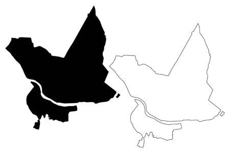 Daugavpils City (Republic of Latvia, Administrative divisions of Latvia, Republican cities) map vector illustration, scribble sketch Daugavpils map Illusztráció