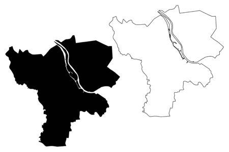 Jelgava City (Republic of Latvia, Administrative divisions of Latvia, Republican cities) map vector illustration, scribble sketch Jelgava map Illusztráció