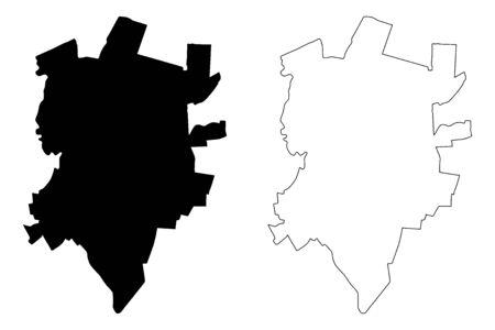 Rezekne City (Republic of Latvia, Administrative divisions of Latvia, Republican cities) map vector illustration, scribble sketch Rezekne map