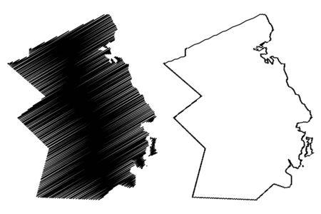 Flacq District (Republic of Mauritius, island, Districts of Mauritius) map vector illustration, scribble sketch Flacq map Ilustração